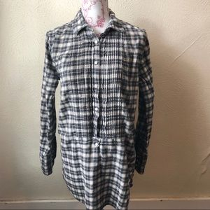 J. Crew Pin Tuck Flannel 3/4 Button Down Tunic S